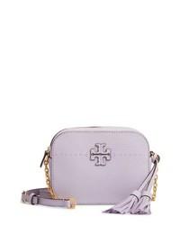 Светло-фиолетовая кожаная сумка через плечо