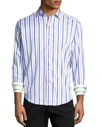Светло-фиолетовая рубашка с длинным рукавом в вертикальную полоску