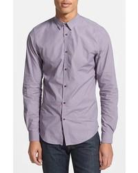 Светло-фиолетовая рубашка с длинным рукавом