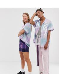 Женская светло-фиолетовая рубашка с коротким рукавом с принтом тай-дай от Collusion