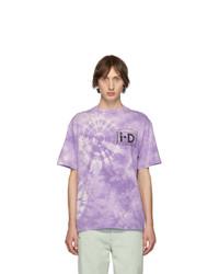 Светло-фиолетовая футболка с круглым вырезом с принтом тай-дай
