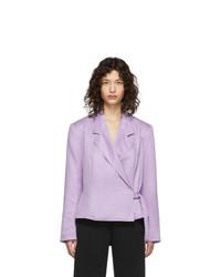 Женский светло-фиолетовый двубортный пиджак от Pyer Moss
