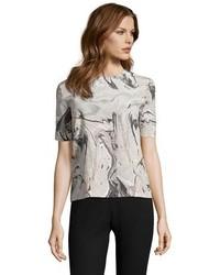 Серая блуза с коротким рукавом с принтом