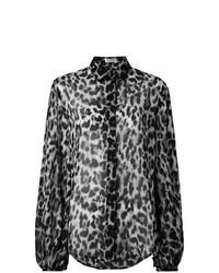 f0cddd76c9b Модный лук  серая блузка с длинным рукавом с леопардовым принтом ...