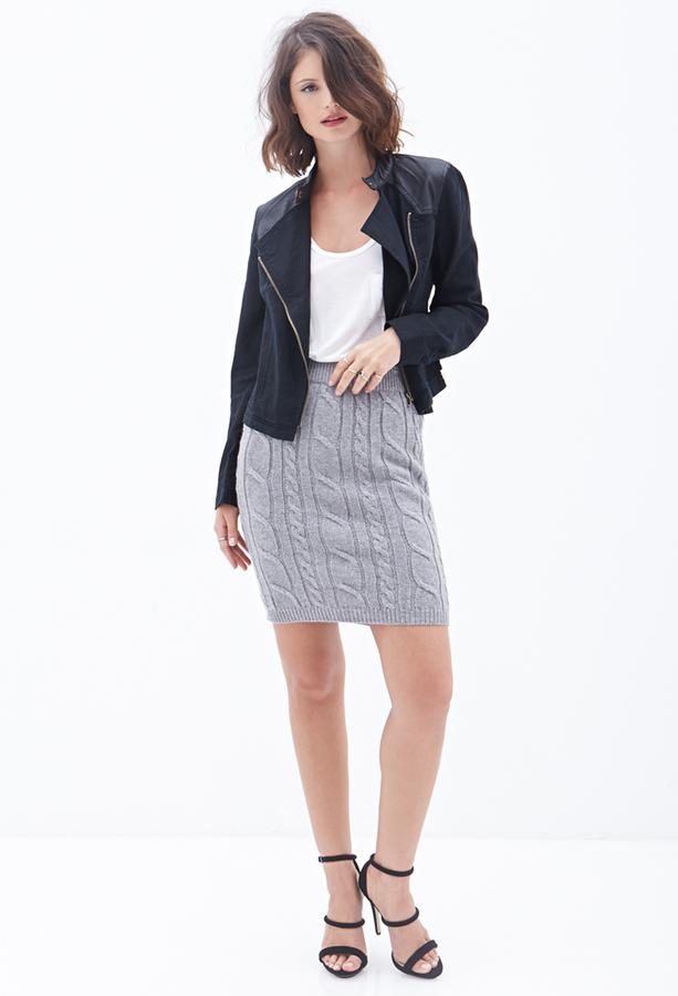 Вязаная юбка карандаш с чем носить