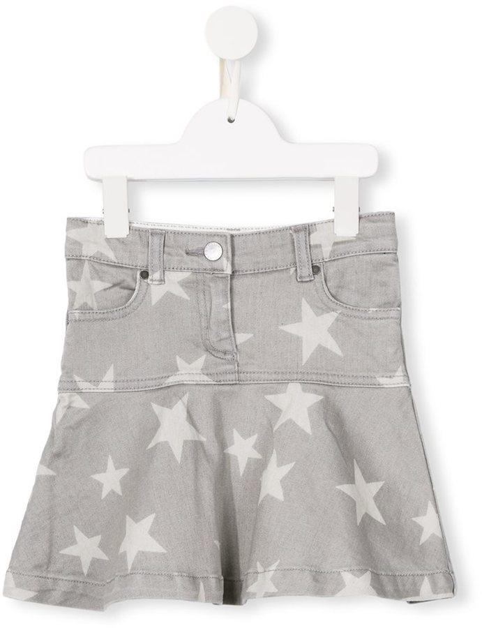 Детская серая джинсовая юбка со звездами для девочке от Stella McCartney