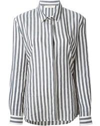 Серая классическая рубашка в вертикальную полоску