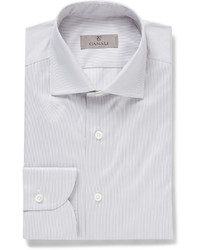 Мужская серая классическая рубашка в вертикальную полоску от Canali