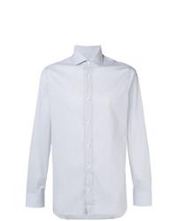 Мужская серая классическая рубашка в вертикальную полоску от Z Zegna