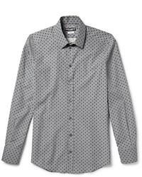 Серая классическая рубашка в горошек