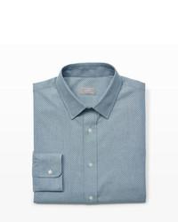 Серая классическая рубашка из шамбре