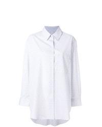Серая классическая рубашка с принтом