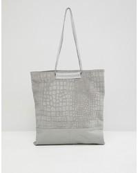 Серая кожаная большая сумка со змеиным рисунком от ASOS DESIGN