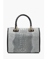 Серая кожаная большая сумка со змеиным рисунком от Roberta Rossi