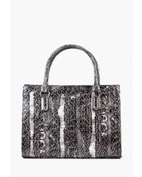 Серая кожаная большая сумка со змеиным рисунком