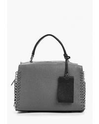 Серая кожаная большая сумка от Labella Vita