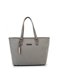 Женская серая кожаная большая сумка от Tommy Hilfiger