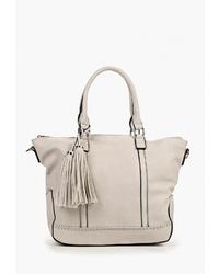 Серая кожаная большая сумка от Vivian Royal