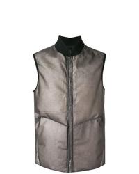 Серая кожаная куртка без рукавов