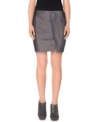Женская серая кожаная мини-юбка от Acne Studios