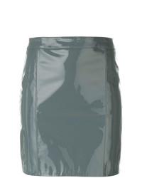 Серая кожаная мини-юбка от Manokhi