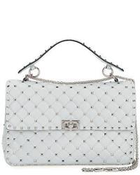 Женская серая кожаная стеганая сумка через плечо от Valentino