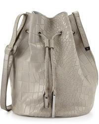 Серая кожаная сумка-мешок