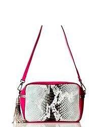 Серая кожаная сумка через плечо со змеиным рисунком