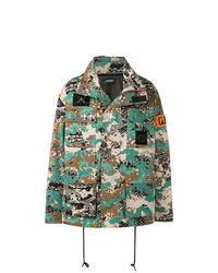 Мужская серая куртка в стиле милитари с камуфляжным принтом от Diesel