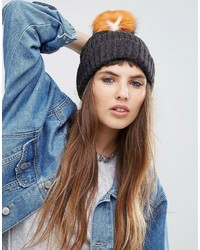 Женская серая меховая шапка от Asos