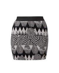 Серая мини-юбка с жаккардовым узором