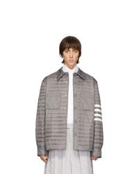 Мужская серая нейлоновая стеганая куртка-рубашка от Thom Browne