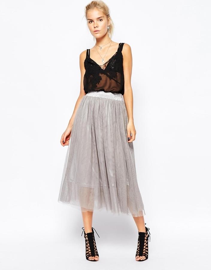 Пышную серую юбку с чем носить