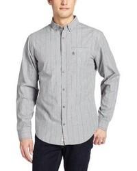 Серая рубашка с длинным рукавом в вертикальную полоску