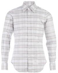 Серая рубашка с длинным рукавом в горизонтальную полоску
