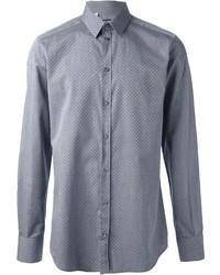 Серая рубашка с длинным рукавом в горошек
