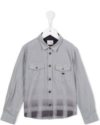 Детская серая рубашка с длинным рукавом в клетку для мальчику от Armani Junior