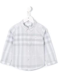 Детская серая рубашка с длинным рукавом в клетку для мальчику от Burberry