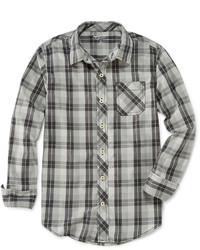 Серая рубашка с длинным рукавом в шотландскую клетку