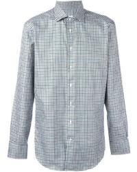 Мужская серая рубашка с длинным рукавом в шотландскую клетку от Etro