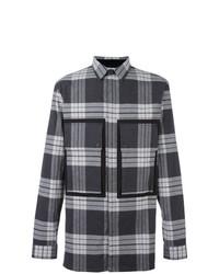 Мужская серая рубашка с длинным рукавом в шотландскую клетку от Helmut Lang