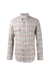 Мужская серая рубашка с длинным рукавом в шотландскую клетку от Saint Laurent