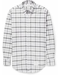 Мужская серая рубашка с длинным рукавом в шотландскую клетку от Thom Browne