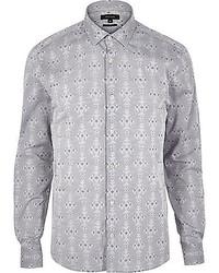 Серая рубашка с длинным рукавом с геометрическим рисунком