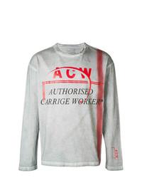 Мужская серая рубашка с длинным рукавом с принтом от A-Cold-Wall*