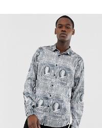 Мужская серая рубашка с длинным рукавом с принтом от ASOS DESIGN