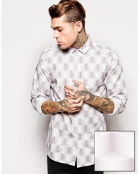 Мужская серая рубашка с длинным рукавом с принтом от Asos