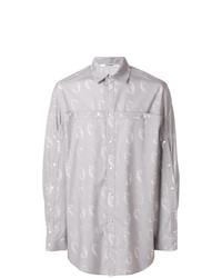 Мужская серая рубашка с длинным рукавом с принтом от Chalayan