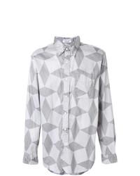 Мужская серая рубашка с длинным рукавом с принтом от Engineered Garments