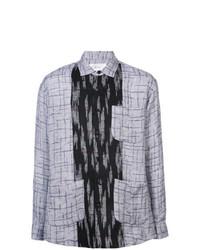 Мужская серая рубашка с длинным рукавом с принтом от Julien David